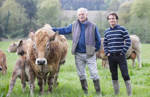 Ernest Mackey and his son Lionel on the family farm in Co Wicklow