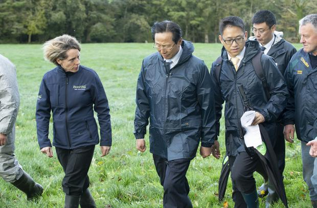 Chinese Minister of Agriculture and Rural Affairs Han Changfu visits the farm of Gerard Murphy, Boherbue, Mallow, Co Cork