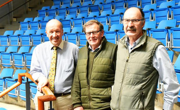 George Candler, auctioneer, John C Muphy, chairman, and John Delahanty, secretary, Kilkenny Agricultural Society in the sales ring at Cillin Hill.