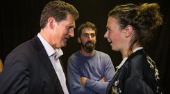 Green party leader Eamon Ryan and Green Party MEP candidate Saoirse McHugh, at the Castlebar count centre for the Midlands-Northwest. McHugh polled well in the European elections but may lose out in the race for the final seat. Photo: Mark Condren