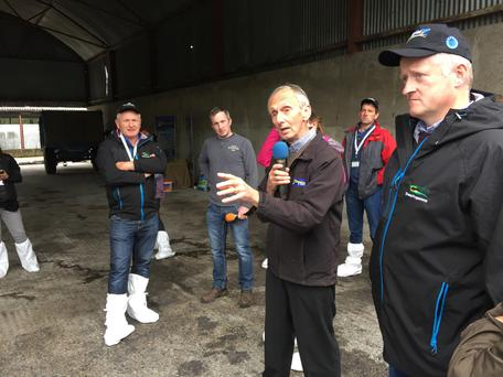 How it's done: Ken Matthews and Tim Keady at the SheepNet farm walk on the Matthews farm near Tullamore