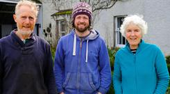 Green shoots: Norman Kenny, farm manager Colm Warren and Deirdre O'Sullivan at Nurney Farm in Co Kildare