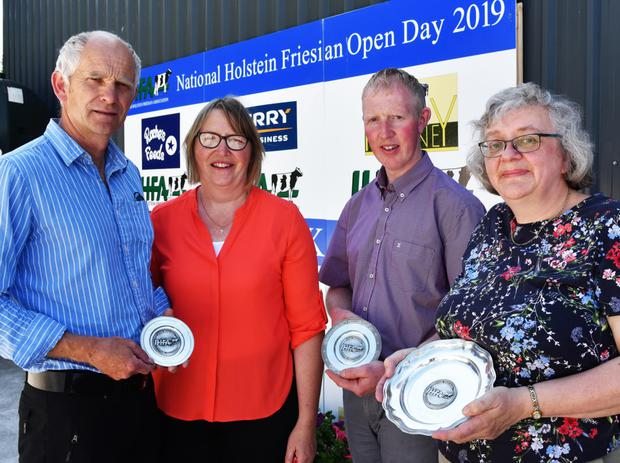 Winners: Robert and Sylvia Helen, Eedy Herd, Co. Cork; Damian Wynne, Ballyconnell, Co. Cavan, and Joan Jackson, Borkilbeg Herd, Co. Wicklow were winners in the Under 80 Cows Section of the National Herds Contest