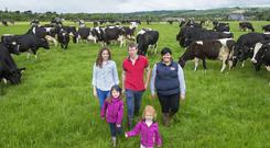 New start: Edward and Breda Donovan, winners of the 2018 Dairygold Milk Quality Awards, with their children Caoimhe and Aoife, and Dairygold milk advisor Maeve O'Connor on their farm at Ballybrannagh, Cloyne, Co Cork. Edward started milking in January 2014 as a new entrant to dairying and currently milks 203 cows from a grazing platform of 79ha. Photo: O'Gorman Photography.
