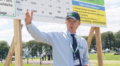 Advice: Michael O'Donovan of Teagasc speaking on grassland management at the Teagasc Moorepark 2019 Dairy Open Day in Fermoy, Co Cork. Photo: O'Gorman Photography