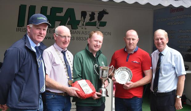 Michael Spillane, Fethard, Co Tipperary receiving the Overall Pure Friesian Herd of the Year Award, with Martin Crowe, chairman, Pure Friesian Breeders; Patrick Gaynor, president, IHFA; Donal Donovan, FBD, sponsors; and Charles Gallagher of the IHFA.