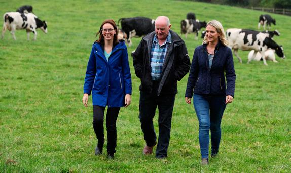 Lie of the land: Minister for European Affairs Helen McEntee (right) and French Minister for Europe Amélie de Montchalin with farmer Gerard McArdle (centre) during the French minister's visit to his dairy farm in Faughart, Co Louth last week. Photo: Brian Lawless/PA Wire