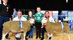 Declan and Mark Miley with their Overall Champion Belclare and Reserve Champion, show judge, Eunan Bannon, and Cloe (5) and Josh (9) Miley.