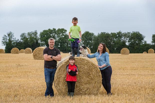 Farmer, Graham Harris with his wife Denise and their children Morgan and Mathew and dog Ruby
