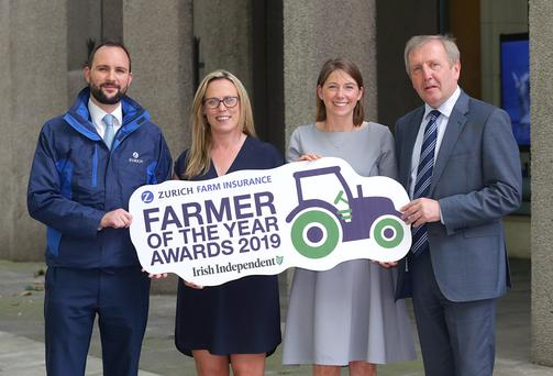 Jason Byrne, Head of Agri business, Zurich Insurance, Margaret Donnelly, Farming Editor, Independent news and media, Gillian O'Sullivan, 2018 Farmer of the Year and Michael Creed, Minister for agriculture, Food and the Marine at the launch of the Zurich Farm Insurance, Farmer of the Year Awards 2019. Picture credit; Damien Eagers / INM