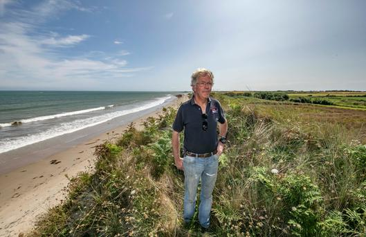 'The sea is our biggest threat': Jamie Ryan on his farm at Ballytrent, Rosslare, Co Wexford. The farm is being affected by coastal erosion to the extent that he can no longer operate machinery on some parcels of ground near the coast. Photo: Patrick Browne