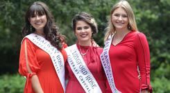 Tralee bound: Orla McDaid, Galway Rose, Marie Brady, Longford Rose and Brooklyn Quinn, San Francisco Rose, pictured at the launch of the Rose of Tralee Festival in Dublin. Picture credit; Damien Eagers / INM