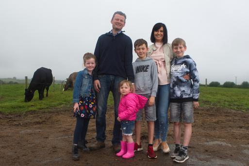 New leaf: Liam Delaney with wife Brenda and children, from left, Kate, Sadie James and Harry on the family farm near Portlaoise. Photo by Kevin Mc Nulty