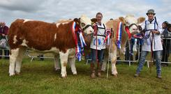 Doubles all round: Lyndsey and Garreth Behan, Ballyfin, Portlaoise with their Supreme Champion and Reserve Supreme Champion