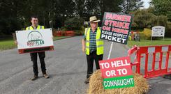 War of wits and writs: Farmers from the Beef Plan Movement protest outside Kepak in Clonee, Co Meath. Photo: Frank McGrath