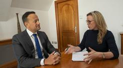 Taoiseach Leo Varadkar and Farming Independent editor Margaret Donnelly