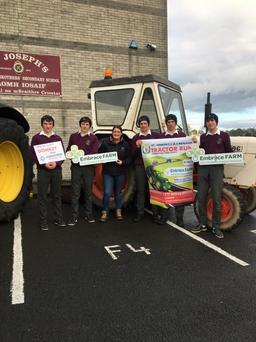 Nenagh Transition Year students with an Embrace Farm rep launching the tractor run