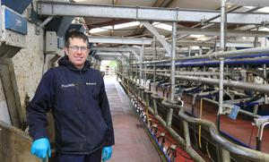 Measured approach: Gerry Hoey in the milking parlour on the family farm at Furryhill, Navan, Co Meath. Photo: Gerry Mooney