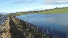 Water gate: Some landowners feel the construction of a road scheme through their holding significantly damages the drainage of the retained land