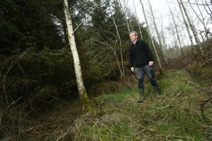 Andrew inspecting the trees in the 47 acres of heavier ground he has planted in forestry. Photo: Finbarr O'Rourke