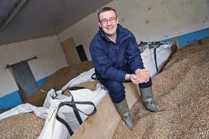 Mark Gillanders with his crops at his farm at Kilmarly, Co. Monaghan.  Photo: Lorraine Teevan