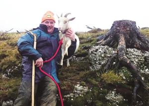 Joe O'Shea pictured with 'Suzie' the goat who was crowed the Slieve Bloom's 'Queen of the Mountain' at the Bracket Stones on Spink Hill during last year's Imbolc Festival oin County Offaly.
