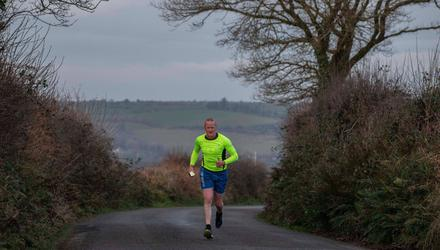 Peter Hynes pounding the roads near his farm in Co Cork. Peter was the Team Ireland captain in the Run1000 challenge for rural communities. PHOTO: Claire Keogh
