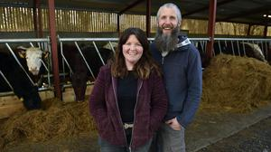 Going their own way: Sinéad Moran and Mick McGrath own a micro-dairy with a herd of traditional breed cows on 27 acres of high-nature-value farmland near Aghamore in Co Mayo. Photos: Ray Ryan