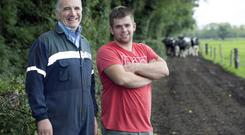 Pat Flanagan and John Coakley on the Old Carton Farm, Maynooth, Co Kildare. Photo: Tony Gavin