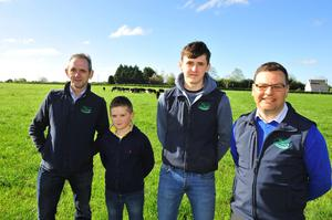 Joe Farrell with his son Padraig, farm manager Billy and Gordon Peppard at the recent Teagasc Green Acres farm walk on the Farrel holding near Castledermot, Co Kildare. Photo Roger Jones.