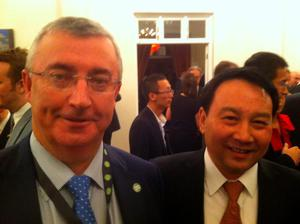 Irish Country Meats (ICM) boss, Joe Hyland, with one of his most important customers for sheep pelts, Michael Lu