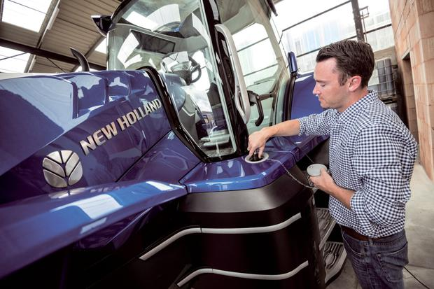 New wave: New Holland says its 6-cylinder methane powered tractor engine delivers the same power (180hp) and torque (740 Nm) as its standard diesel equivalent