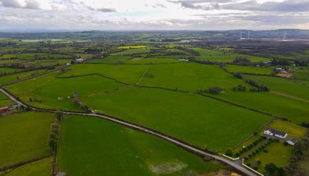 The 82.9ac farm at Ballaghmore, Co Laois has road frontage on to three roads