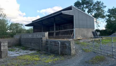 The residential farm at Dunmore included this modern slatted shed. The property sold for €320,000