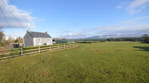 The farm, located near Hacketstown and Tinahely, is in a mix of grass and forestry and has views towards the Wicklow Mountains
