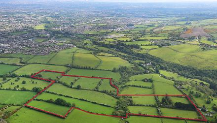 Views across the city: One of the two lots at Ballymaice and Ballymana, Tallaght, Co Dublin; the entire, adding up to 62ac, is guided at €1.2m