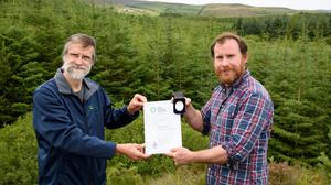 Ross Buchanan from Carndonagh, winner of the RDS Spring Awards 2020 Teagasc Farm Forestry Award with Steven Meyen, Teagasc Forestry Advisor. Photo Clive Wasson