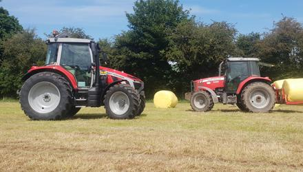 The old and the new: A demo model of the Massey Ferguson 5S Peter Hynes has ordered, alongside the MF 5455 he is trading in