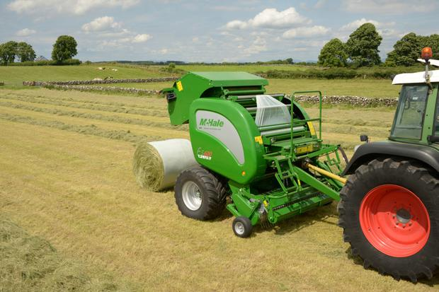McHale's F5600 Plus machine offers a film binding system on a standalone baler.