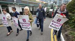 The IFA stage a protest outside the Allied Irish Bank's AIB AGM which was taking place in the Ballsbridge Hotel. Picture: Finbarr O'Rourke.