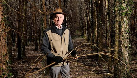 'Fed up': Martin Oakes in Balgeeth Woods, Co Meath, where he is prohibited from cutting his trees. On the right are oaks and on the left are nurse trees which need to be removed to allow the oaks to thrive. Photo: Frank McGrath
