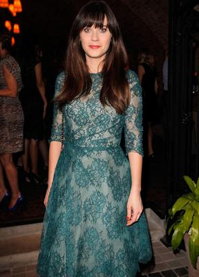 Zooey celebrated her Glamour Cover Girl shoot in a demure green Monique Lhuillier number.