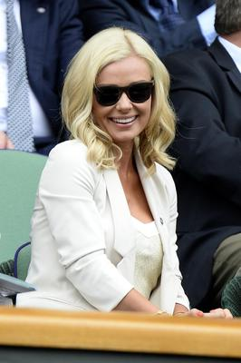 LONDON, ENGLAND - JULY 02:  Katherine Jenkins sits in the Royal Box before the Ladies' Singles quarter-final match between Agnieszka Radwanska of Poland and Na Li of China on day eight of the Wimbledon Lawn Tennis Championships at the All England Lawn Tennis and Croquet Club at Wimbledon on July 2, 2013 in London, England.
