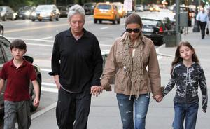 Douglas and Zeta-Jones walk hand in hand with their two children daughter Carys and son Dylan in New York City in 2010.