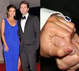 Glee's Matthew Morrison proposed to his girlfriend of two years, Renee Puente, and she showed off her incredible sapphire and diamond engagement ring at Elton John's White Tie & Tiara Ball.