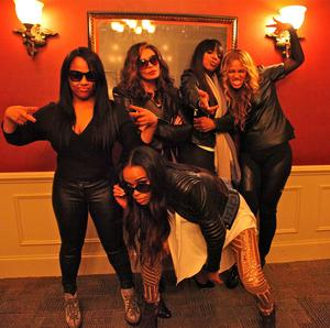 Destiny's Child, Beyonce's mom Tina and a friend join in the fun.