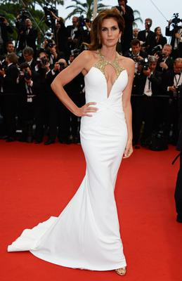 Cindy Crawford wearing Roberto Cavalli to the Opening Ceremony and 'The Great Gatsby' in Cannes.