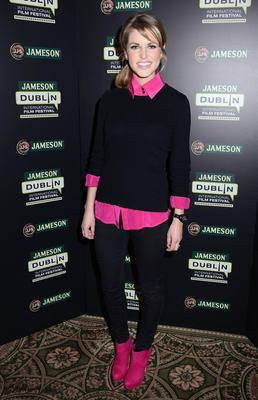The colour pop of bright pink looks great here as she launches the 10th Jameson Dublin International Film Festival in February of this year. The boots were bought in New York on a visit there with Brian.