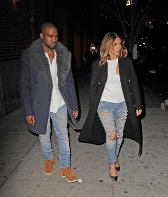 She and fiance Kanye West wore matching outfits in New York