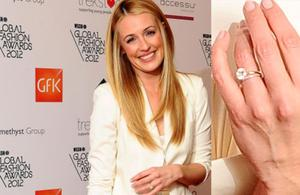 The massive sparkler is a classic round cut diamond and Cat (36) beamed as she showed it off when she stepped out at the WGSN Global fashion Awards. She married funnyman Patrick Kielty just months ago in a very small and very private ceremony in Rome.